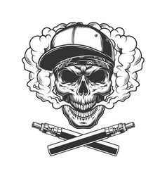 Monochrome hipster skull in smoke cloud vector