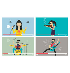 musicians people videostream music festiva vector image