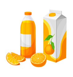 Orange juice in carton and bottle as finished vector