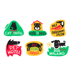 pets hotel cats and dogs grooming sitting vector image