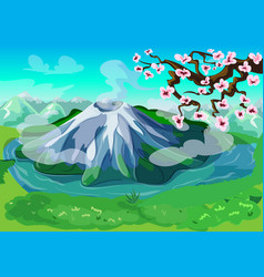 Picturesque japanese nature landscape background vector
