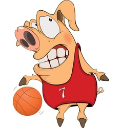 Pig the basketball player cartoon vector image
