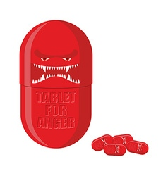 Pill of anger Red Tablet with a scary face vector image