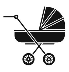 Retro baby carriage icon simple style vector
