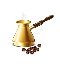 Retro coffee pot and grains isolated vector image