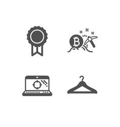 Reward bitcoin mining and seo laptop icons vector