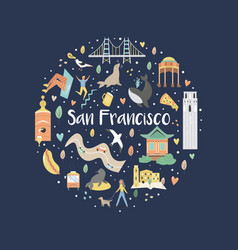 san francisco hand drawn flat with symbols vector image