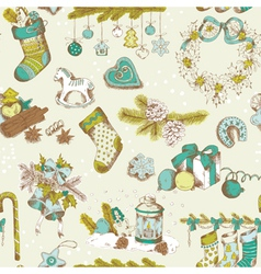 Seamless Christmas Pattern - hand drawn vector image