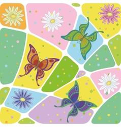 Seamless flowers and butterflies vector