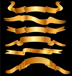Set gold ribbons vector image vector image