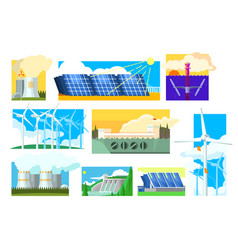 set of alternative energy sources vector image