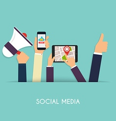 Set of people hands holding mobile devices Social vector image