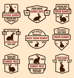 set rabbit meat labels design elements for vector image