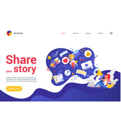 share your story on social media landing page vector image