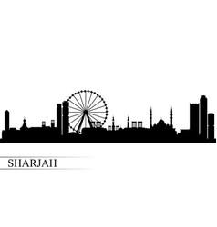Sharjah city skyline silhouette background vector