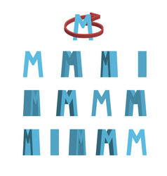Sheet of sprites rotation of cartoon 3d letter m vector