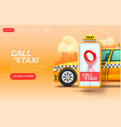 smartphone call taxi banner concept place for vector image