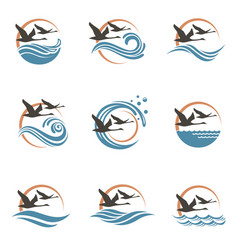 Swans and waves icons vector
