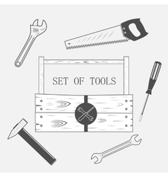 Toolset in wood box vector