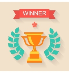 Trophy winner Ribbon in flat design vector image