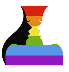 Two girls silhouettes and lgbt flag vector