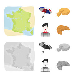 Umbrella traditional cheese mime france vector