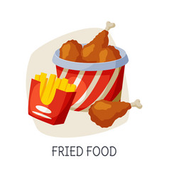 Unhealthy food for brain fried food dishes vector