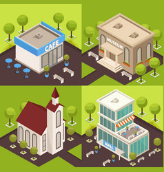 urban architecture isometric concept vector image