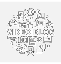 Video blog round linear vector