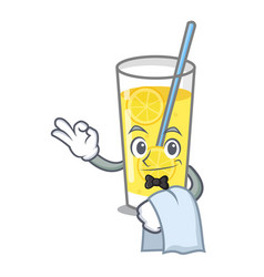 Waiter lemonade mascot cartoon style vector