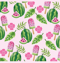 Watermelon ice lolly and leaves background vector