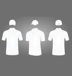 White baseball cap and polo t shirt vector