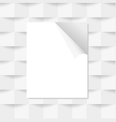 white sheet of paper on a gray background vector image