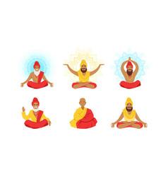 yogi men characters set meditating people in yoga vector image
