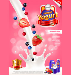 Yogurt ads pouring milk and forest fruits vector
