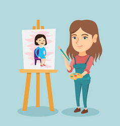 Young caucasian artist painting a portrait vector