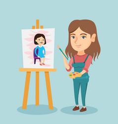 young caucasian artist painting a portrait vector image