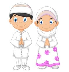 cute two muslims cartoon vector image vector image