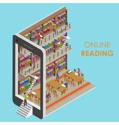 Online Reading Conceptual Isometric vector image vector image