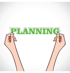 planning word in hand vector image