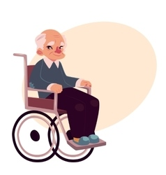 Portrait of happy old man sitting in wheelchair vector image