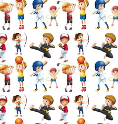 Seamless children and sports vector image