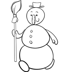 snowman with besom coloring page vector image