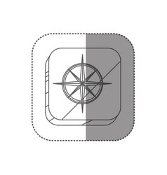 Sticker square silhouette button with compass rose vector