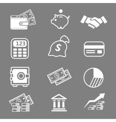 Trendy business and economics white icons set vector image