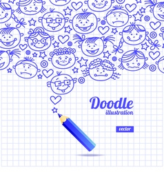 Doodle kid cartoon design vector image vector image