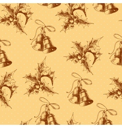 Seamless vintage background with Holly and bell vector image vector image