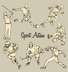 Sport Action Vintage Drawing Style vector image vector image