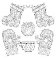 Winter knitted mittens socks cup of tea jam in vector image