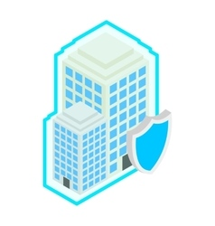 Building protect by shield icon isometric 3d vector image vector image